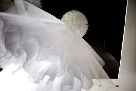 Bride's fantastic white wedding dress from downlow