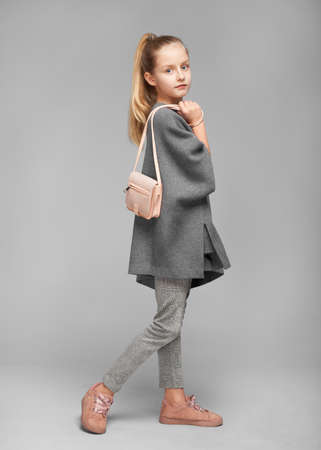 Cute stylish girl in grey dress and with a nandbag in the photostudio on grey background Stock Photo