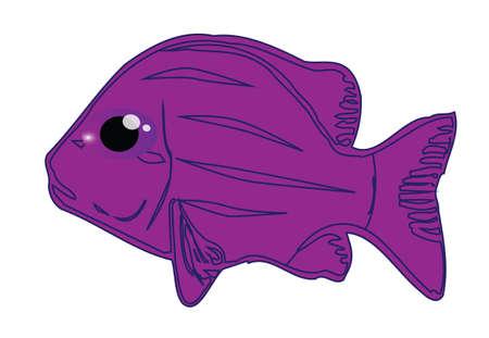 bloat: Cute purple fish cartoon