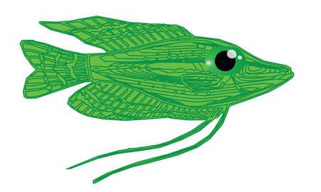 bloat: Cute green fish cartoon