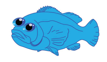 Funny blue fish cartoon
