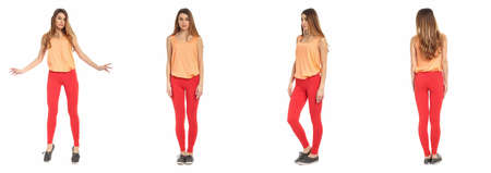 leggings: Young sexy woman in leggings isolated on white