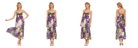 heals: Pretty Woman in dress front, back, side view, isolated