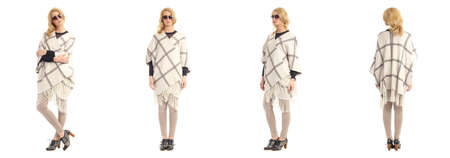 poncho: Full length portrait of beautiful women in poncho coat isolated
