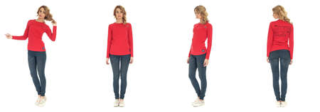 full length: Full length of beautiful woman in blouse and jeans Stock Photo