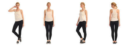 leggings: Full length portrait of beautiful teen in leggings isolated