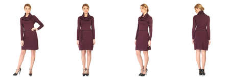 vinous: Pretty Woman in vinous dress isolated