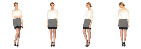 sexy skirt: Pretty woman in sexy skirt solated