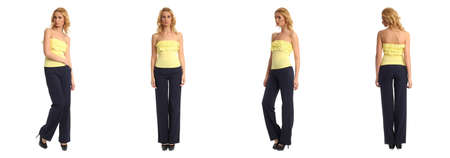 heals: Full length portrait of beautiful women in trousers isolated