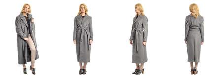 overcoat: Full length portrait of beautiful women in overcoat isolated