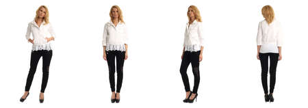 heals: Full length portrait of beautiful women in pants isolated