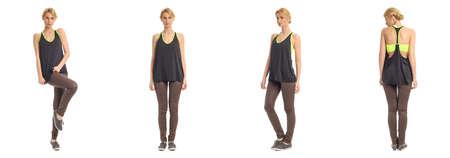 poses de modelos: Mujer hermosa en pantalones de cuero aislado en blanco Foto de archivo