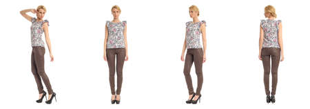 heals: Beautiful woman in leather pants isolated on white Stock Photo