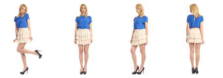 falda corta: Hermosa chica rubia en falda corta aislada en blanco