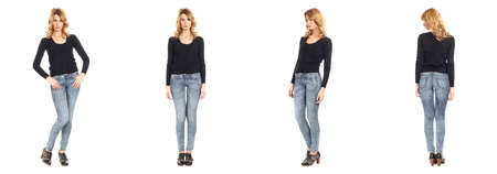 full length: Full length portrait of beautiful woman in jeans Stock Photo