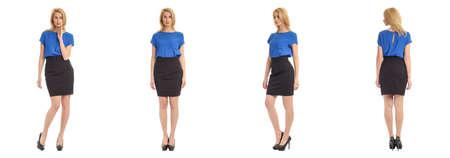 short skirt: Beautiful blonde girl in short skirt isolated on white Stock Photo