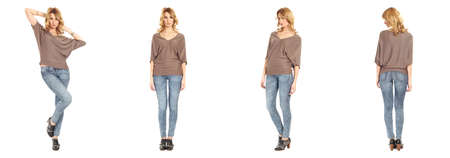 full length portrait: Full length portrait of beautiful woman in jeans Stock Photo