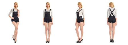poses de modelos: Mujer hermosa en ropa en general aislados en blanco