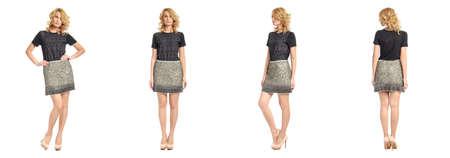 femme blonde: Pleine longueur portrait de la belle femme en jupe Banque d'images