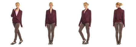 maroon leather: Beautiful woman in leather pants isolated on white Stock Photo