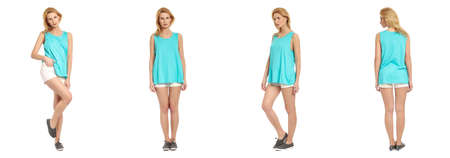 stylish woman: Full length portrait of beautiful woman in  shorts Stock Photo