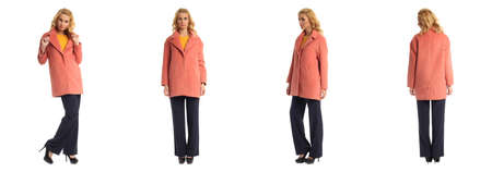 heals: Full length portrait of beautiful women in coat isolated Stock Photo