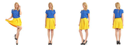 heals: Beautiful blonde girl in short skirt isolated on white Stock Photo