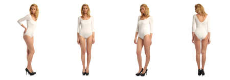 heals: Full length portrait of beautiful women in bodysuit isolated