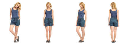 woman pose: Full length portrait of beautiful woman in  shorts Stock Photo