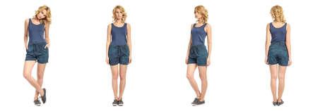short shorts: Full length portrait of beautiful woman in  shorts Stock Photo