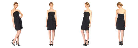 long stockings: Pretty Woman in black dress isolated