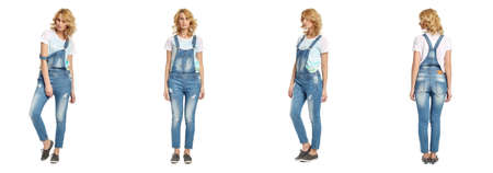 overalls: Full length portrait of beautiful woman in  overalls Stock Photo