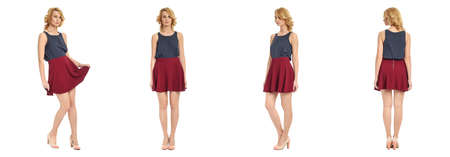 skirts: Full length portrait of beautiful woman in sexy skirts isolated