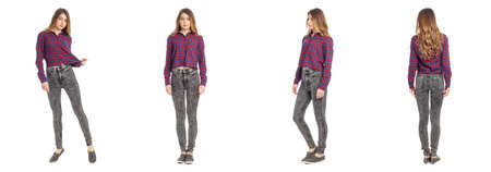 18 20: Beautiful young girl in fashionable jeans isolated on white