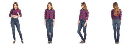 18 19: Beautiful young girl in fashionable jeans isolated on white