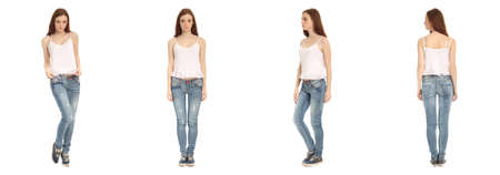 fits in: Full-length portrait young girl in jeans