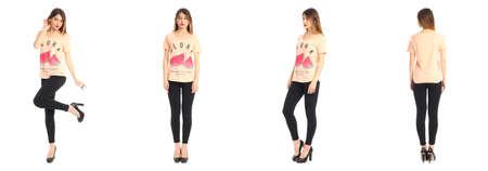 leggings: Full length portrait of beautiful teen in leggings
