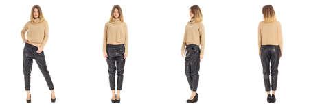 full length portrait: Full length portrait of beautiful woman in pants