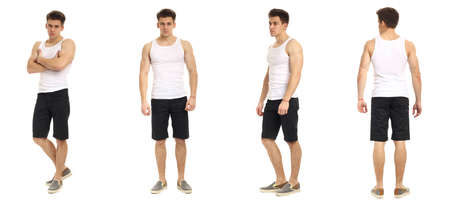 muscular body: Muscular man in shorts isolated on white