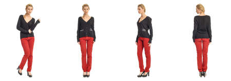 red pants: Portrait of young slim woman in red pants posing isolated on white background