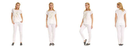 white pants: Portrait of young slim woman in white pants posing isolated on white background