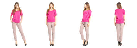 blusa: Portrait of pretty woman on white background wearing trousers
