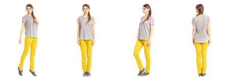 Portrait of pretty woman on white background wearing jeans
