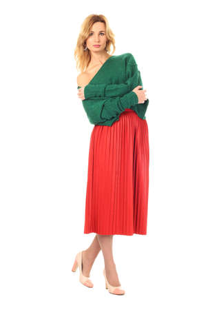 soothsayer: Woman in red skirt standing in full length Foto de archivo