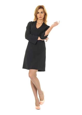 cocktail dress: Fashion model wearing black cocktail dress Stock Photo
