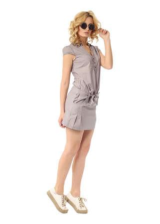sundress: Fashion model wearing gray sundress isolated