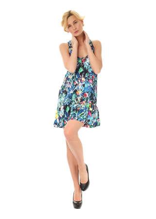 sundress: Fashion model wearing mixed sundress isolated