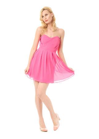 prom dress: Fashion model wearing pink prom dress