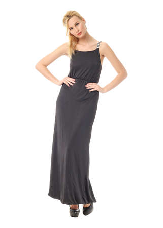 maxi: Fashion model wearing black maxi dress Stock Photo