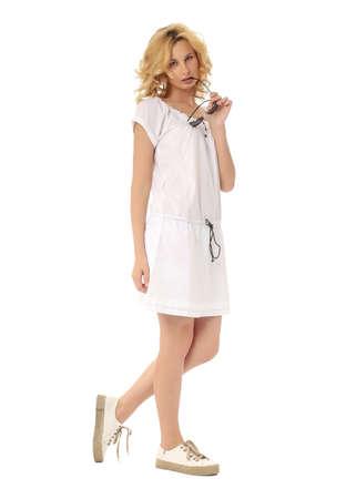 sundress: Fashion model wearing white sundress isolated